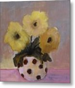 Dotted Vase With Yellow Flowers Metal Print