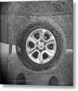Double Exposure Manhole Cover Tire Holga Photography Metal Print