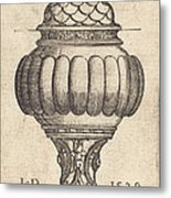 Double Goblet With Oval Decorations Metal Print