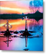 Double Liquid Art Metal Print by William Lee