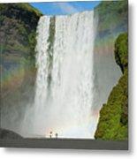 Double Rainbow By Skogafoss Waterfall Metal Print