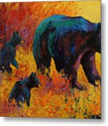 Double Trouble - Black Bear Family Metal Print by Marion Rose
