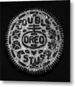 Doulble Stuff Oreo In Black And White Metal Print