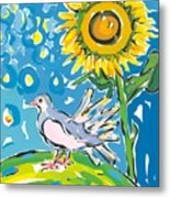 Dove And Sunflower Metal Print