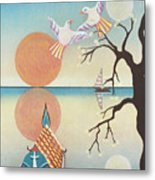 Doves With Sun Metal Print