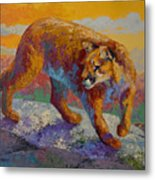 Down Off The Ridge - Cougar Metal Print