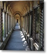 Down The Portico At The Franciscan Monastery In Washington Dc With Digital Effects Metal Print
