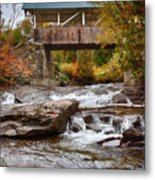 Down The Road To Greenbanks's Hollow Covered Bridge Metal Print