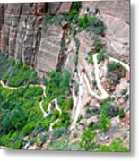 Downhill Switchbacks From Angels Landing Metal Print