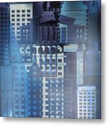 Downtown Abstract - Blue Mist Metal Print