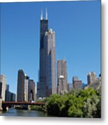 Downtown Chicago Skyline - View Along The River Metal Print