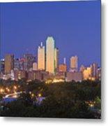 Downtown Dallas Skyline At Dusk Metal Print