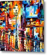 Downtown Lights - Palette Knife Oil Painting On Canvas By Leonid Afremov Metal Print