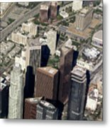 Downtown Los Angeles From Above Metal Print