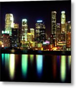Downtown Los Angeles Reflection Metal Print
