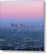 Downtown Los Angeles Skyline At Sunset Metal Print