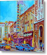 Downtown Montreal Street Rue Ste Catherine Vintage City Street With Shops And Stores Carole Spandau  Metal Print