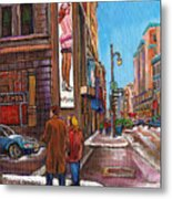 Downtown Montreal Streetscene At La Senza Metal Print