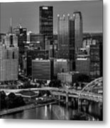 Downtown Pittsburgh At Twilight - Black And White Metal Print