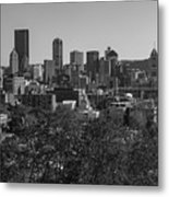 Downtown Pittsburgh In Black And White Metal Print