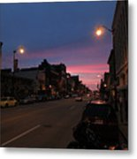 Downtown Racine At Dusk Metal Print