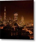 Downtown San Francisco At Night Metal Print