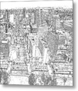 Downtown St. Louis Panorama Sketch Metal Print