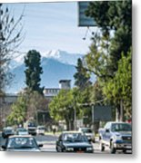 Downtown Street In Santiago De Chile City And Andes Mountains Metal Print