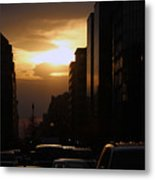 Downtown Sunset From Parking Lot Metal Print