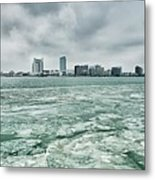 Downtown Windsor Canada City Skyline Across River In Spring Wint Metal Print