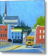Downtown With School Bus     Metal Print