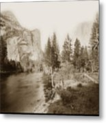 Domes And Royal Arches From Merced River Yosemite Valley Calif. Circa 1890 Metal Print