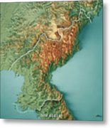 Dpr Korea 3d Render Topographic Map Border Metal Print