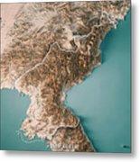 Dpr Korea 3d Render Topographic Map Neutral Border Metal Print
