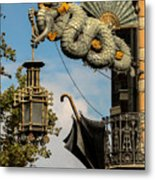 Dragon And Umbrella Sing In Barcelona Metal Print