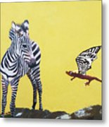 Dragon And Zebra Metal Print