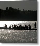 Dragon Boat Silhouette Metal Print by Stuart Turnbull