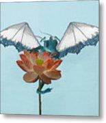 Dragon Peeks Around Flower Metal Print