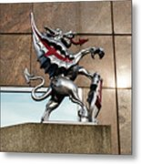 Dragon With Red Cross Metal Print