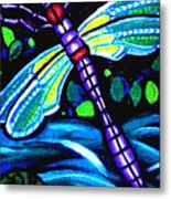 Dragonfly And Water Lily Metal Print