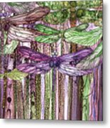 Dragonfly Bloomies 3 - Pink Metal Print
