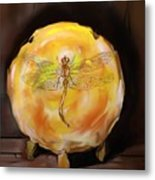 Dragonfly In Amber Metal Print