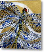 Dragonfly On Gold Scarf Metal Print