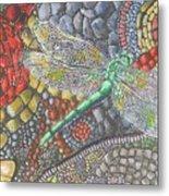 Dragonfly On Stone Path Metal Print