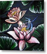 Dragonfly Pond Metal Print