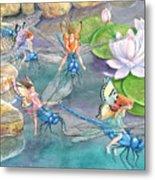 Dragonfly Races Metal Print