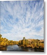 Dramatic Clouds Over Boise River In Boise Idaho Metal Print