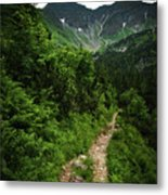 Dramatic Mountain Landscape With Distinctive Green Metal Print