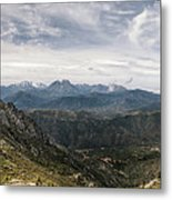Dramatic Panoramic View Of Snow Capped Mountains Of Northern Cor Metal Print