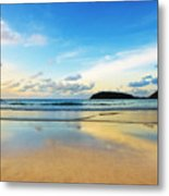 Dramatic Scene Of Sunset On The Beach Metal Print by Setsiri Silapasuwanchai